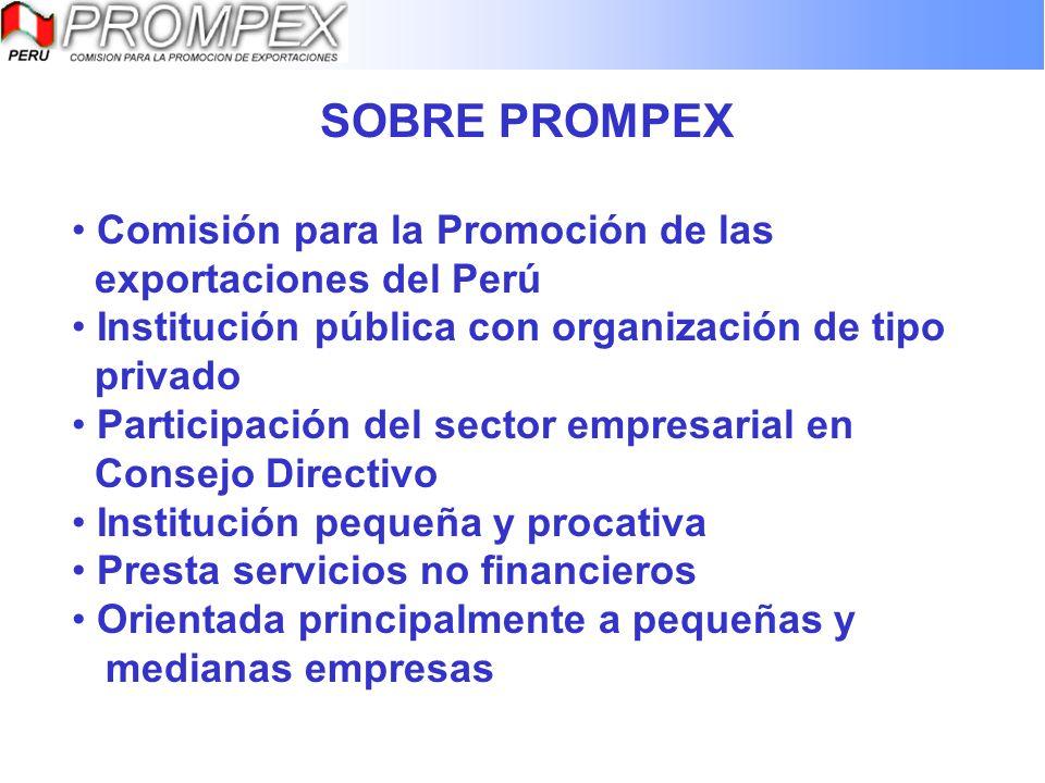 SOBRE PROMPEX Comisión para la Promoción de las exportaciones del Perú