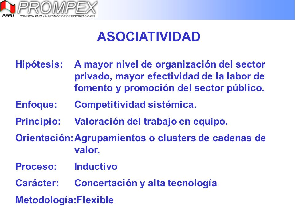 ASOCIATIVIDAD Hipótesis: A mayor nivel de organización del sector