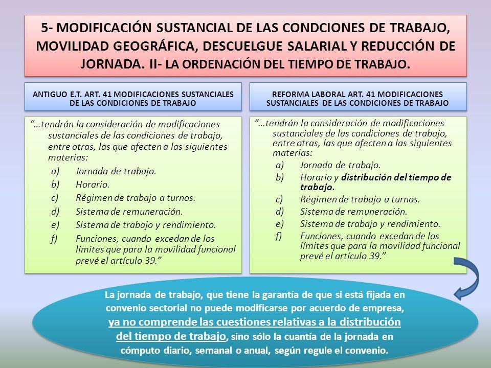 5- MODIFICACIÓN SUSTANCIAL DE LAS CONDCIONES DE TRABAJO, MOVILIDAD GEOGRÁFICA, DESCUELGUE SALARIAL Y REDUCCIÓN DE JORNADA. II- LA ORDENACIÓN DEL TIEMPO DE TRABAJO.