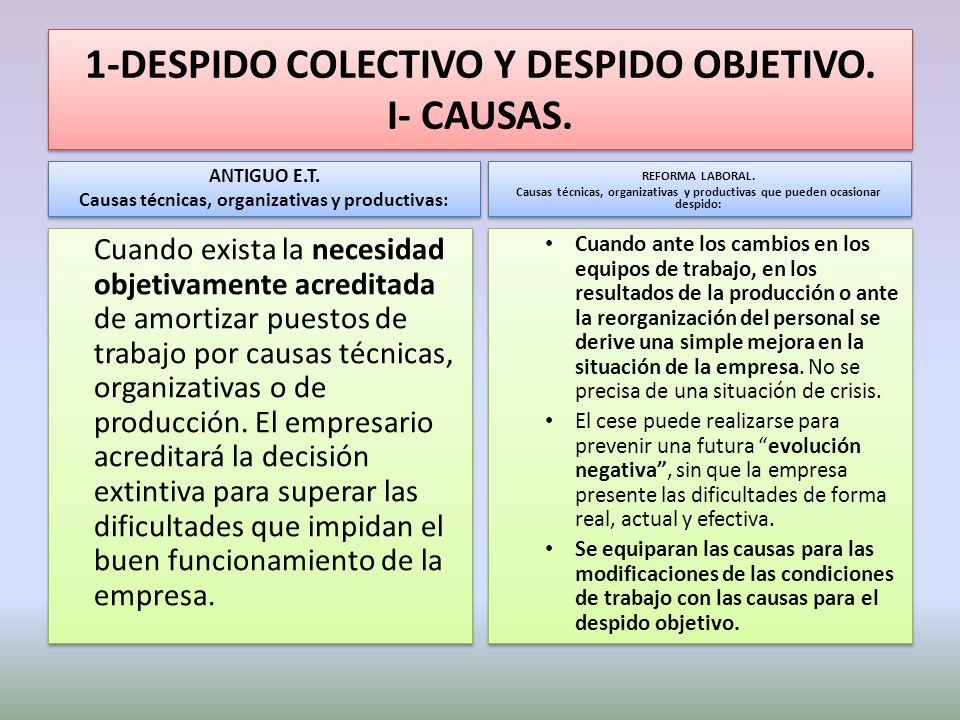 1-DESPIDO COLECTIVO Y DESPIDO OBJETIVO. I- CAUSAS.