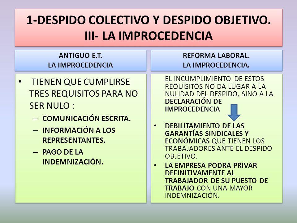 1-DESPIDO COLECTIVO Y DESPIDO OBJETIVO. III- LA IMPROCEDENCIA