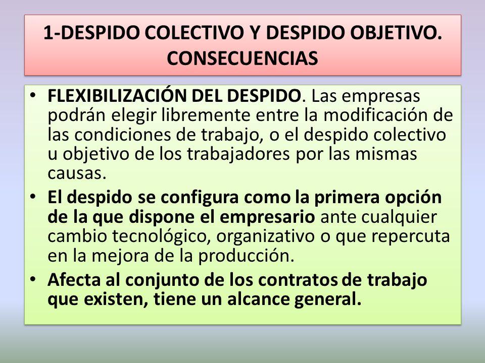 1-DESPIDO COLECTIVO Y DESPIDO OBJETIVO. CONSECUENCIAS