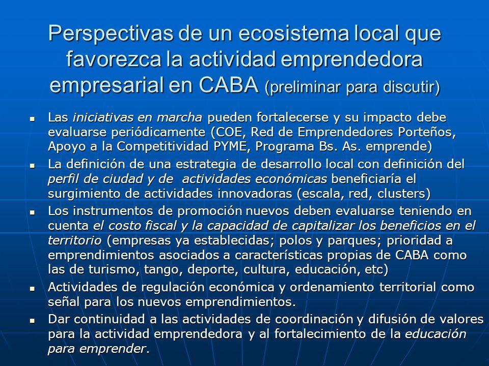Perspectivas de un ecosistema local que favorezca la actividad emprendedora empresarial en CABA (preliminar para discutir)