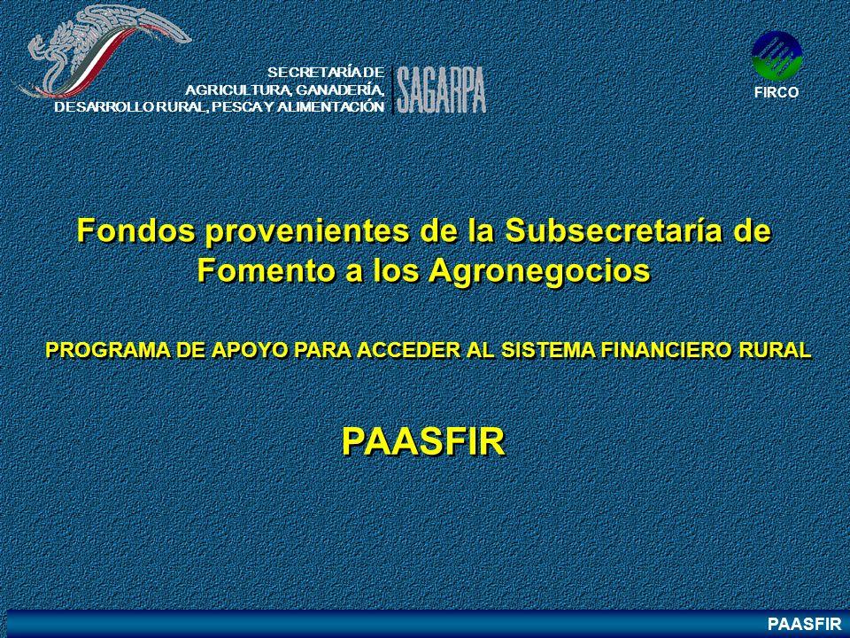 Fondos provenientes de la Subsecretaría de Fomento a los Agronegocios