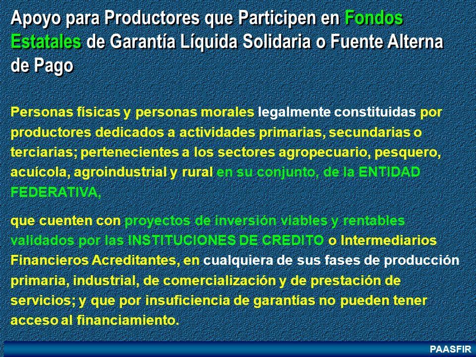 Apoyo para Productores que Participen en Fondos Estatales de Garantía Líquida Solidaria o Fuente Alterna de Pago