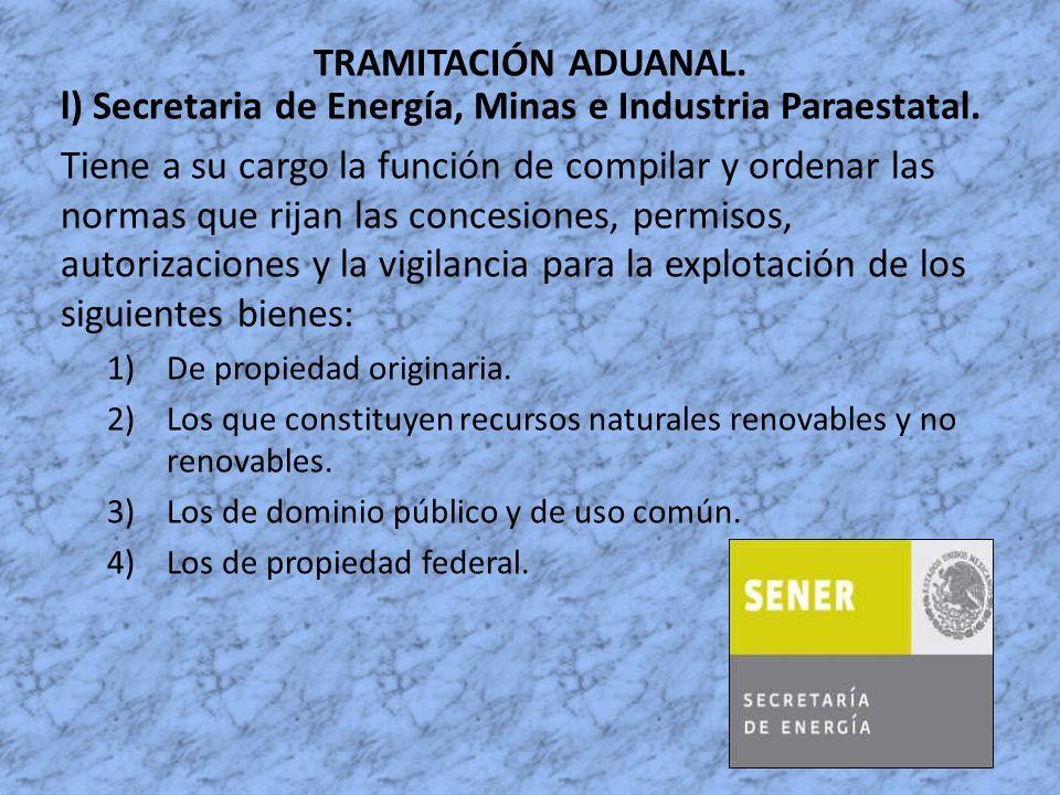 l) Secretaria de Energía, Minas e Industria Paraestatal.