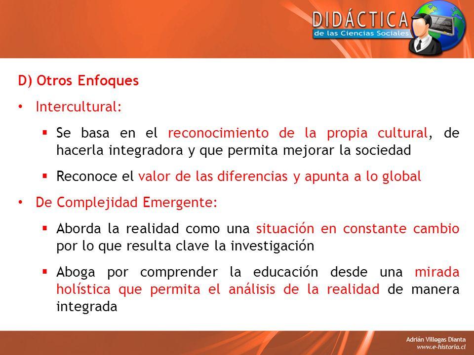 D) Otros Enfoques Intercultural: Se basa en el reconocimiento de la propia cultural, de hacerla integradora y que permita mejorar la sociedad.