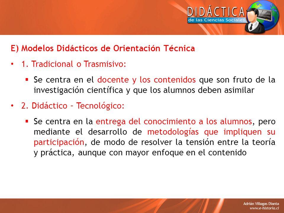 E) Modelos Didácticos de Orientación Técnica