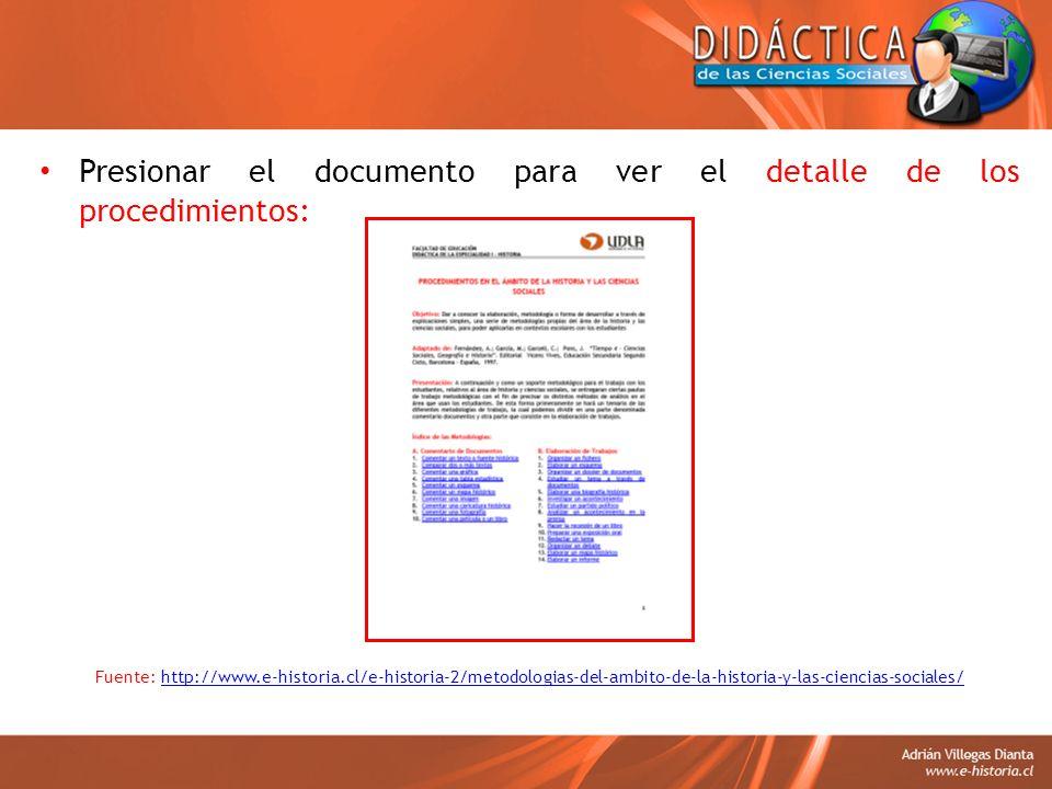 Presionar el documento para ver el detalle de los procedimientos: