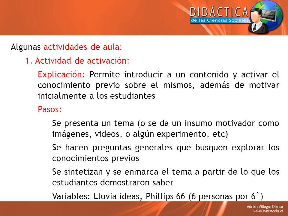 Algunas actividades de aula: