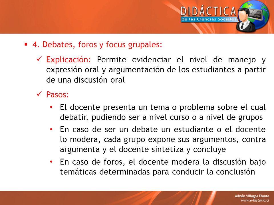 4. Debates, foros y focus grupales: