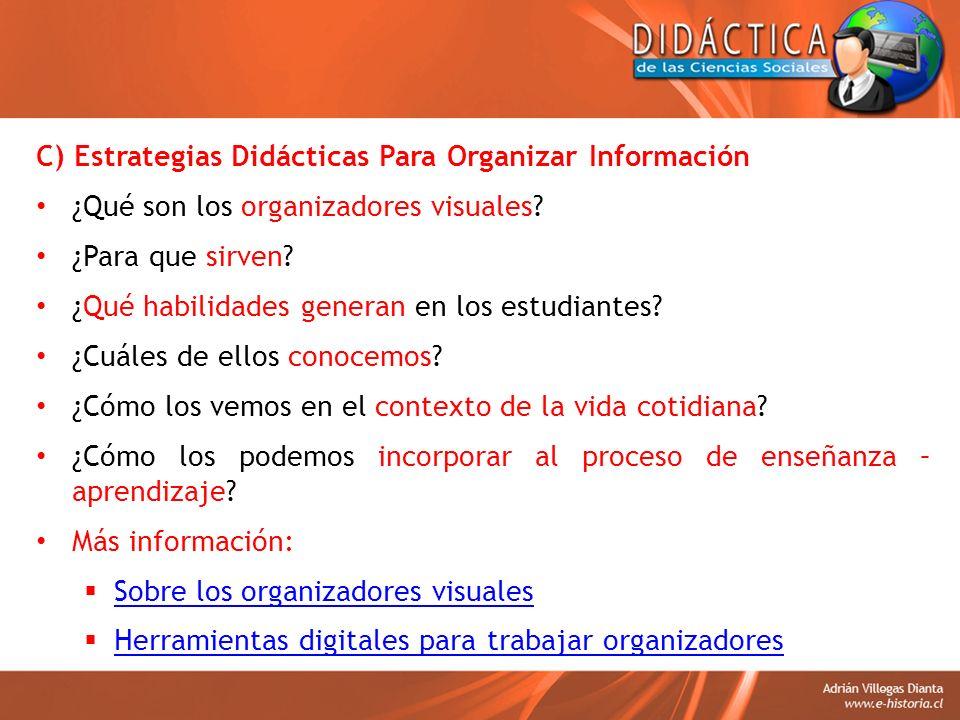 C) Estrategias Didácticas Para Organizar Información