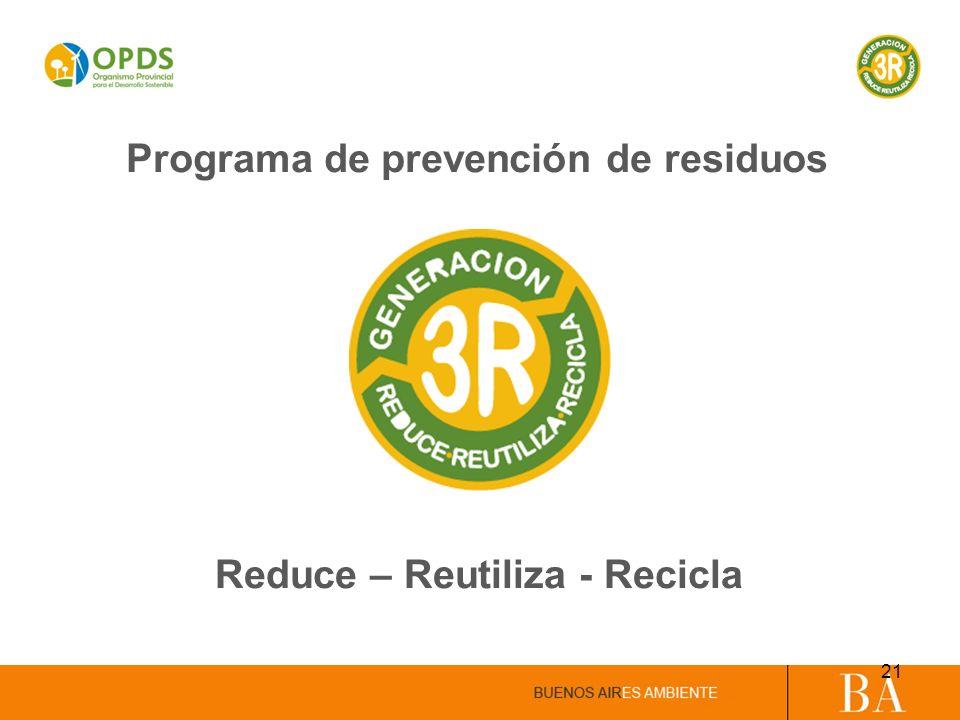Programa de prevención de residuos Reduce – Reutiliza - Recicla