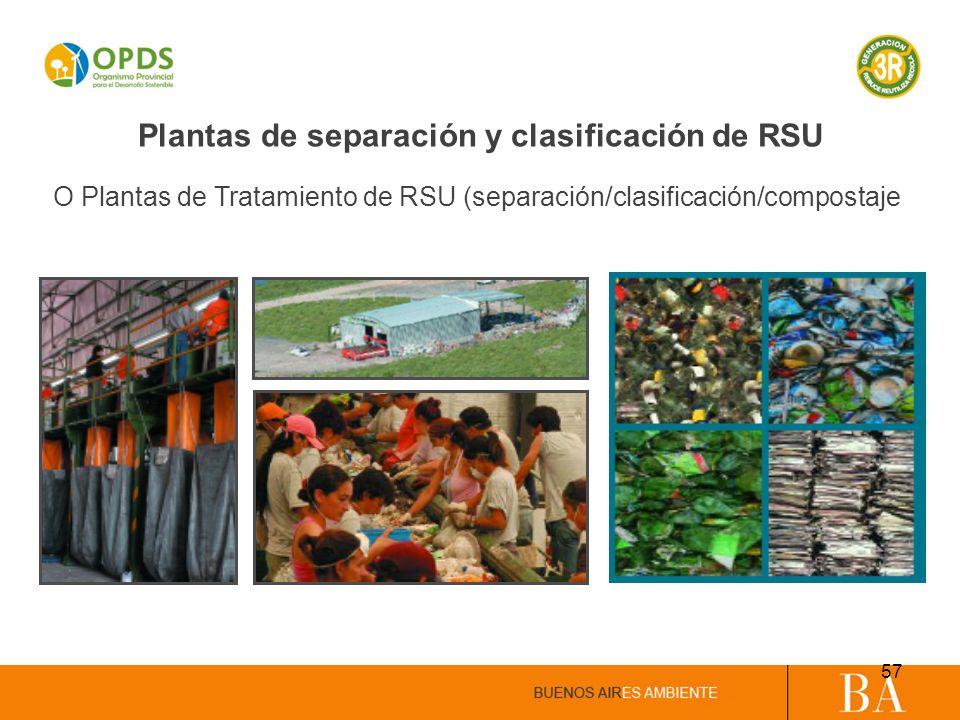 Plantas de separación y clasificación de RSU