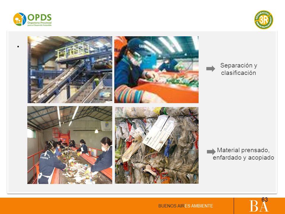 . Separación y clasificación Material prensado, enfardado y acopiado