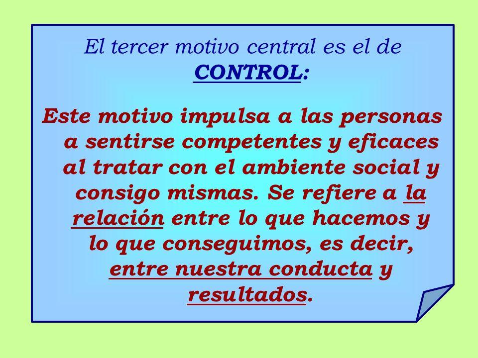 El tercer motivo central es el de CONTROL: