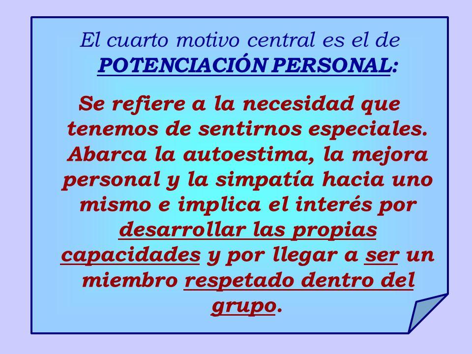 El cuarto motivo central es el de POTENCIACIÓN PERSONAL: