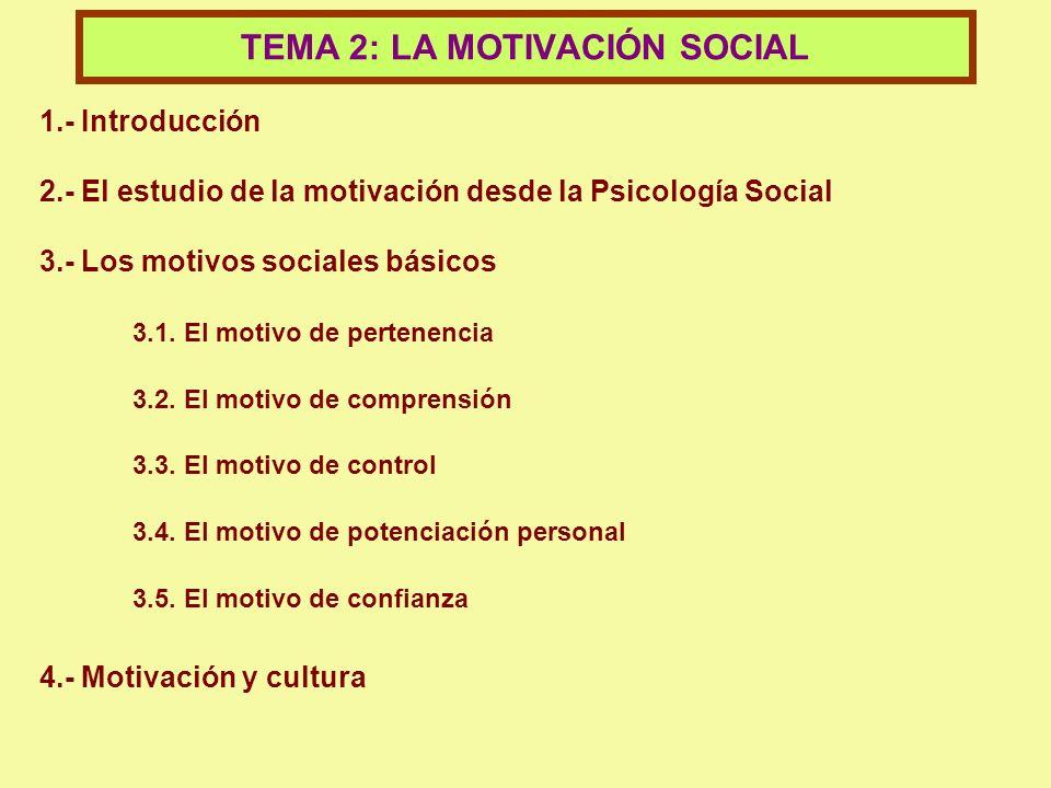 TEMA 2: LA MOTIVACIÓN SOCIAL