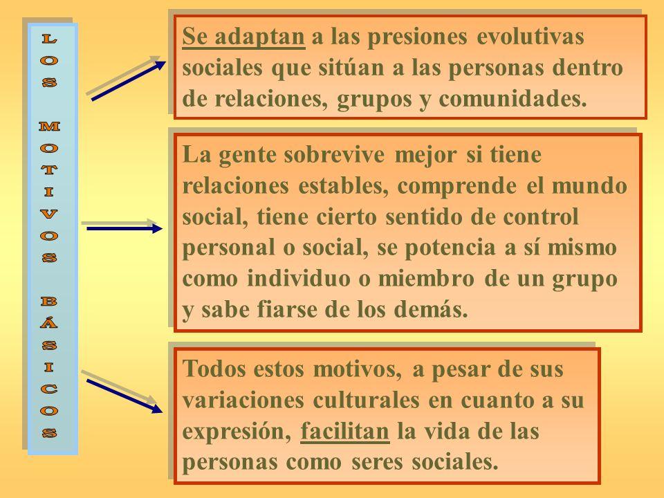 Se adaptan a las presiones evolutivas sociales que sitúan a las personas dentro de relaciones, grupos y comunidades.