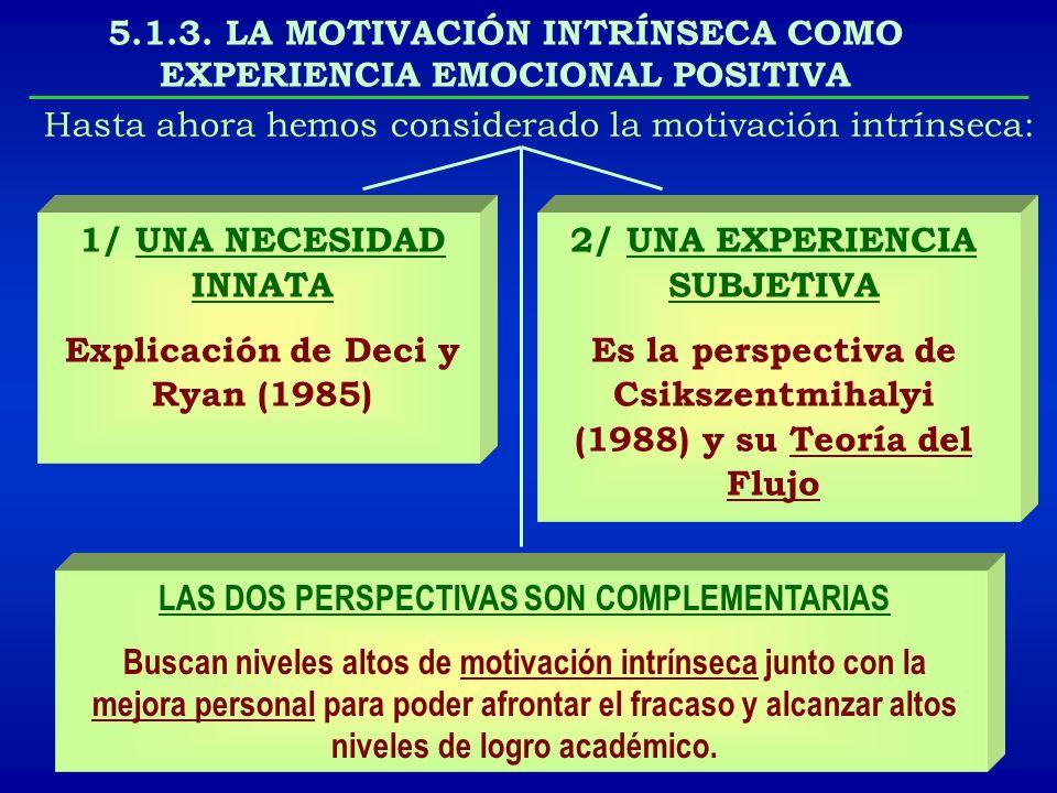 5.1.3. LA MOTIVACIÓN INTRÍNSECA COMO EXPERIENCIA EMOCIONAL POSITIVA