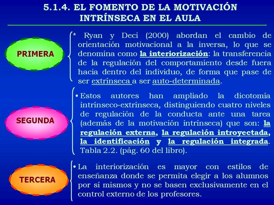 5.1.4. EL FOMENTO DE LA MOTIVACIÓN INTRÍNSECA EN EL AULA