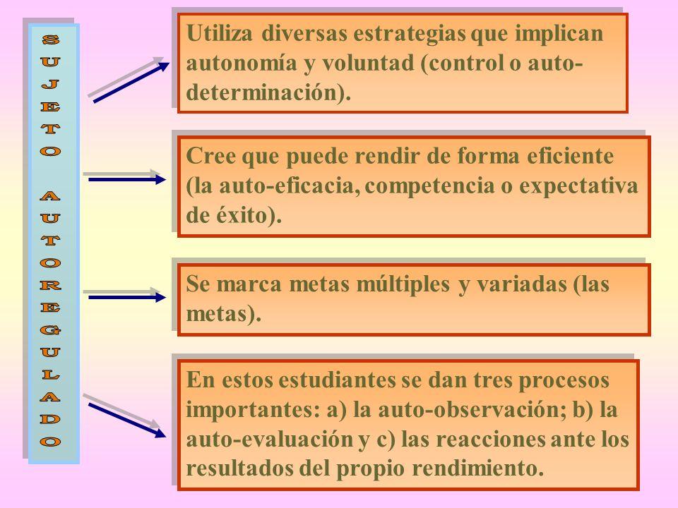 Utiliza diversas estrategias que implican autonomía y voluntad (control o auto-determinación).