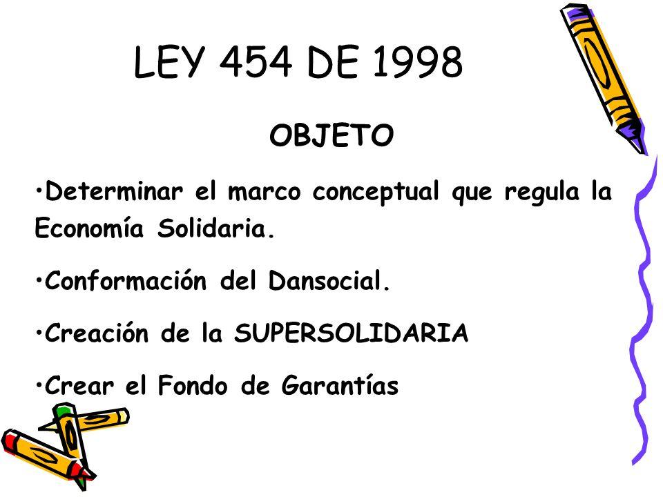 LEY 454 DE 1998 OBJETO. Determinar el marco conceptual que regula la Economía Solidaria. Conformación del Dansocial.