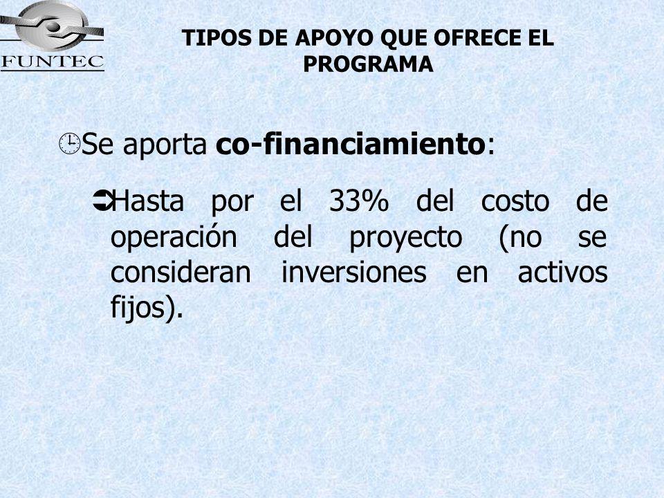 TIPOS DE APOYO QUE OFRECE EL PROGRAMA