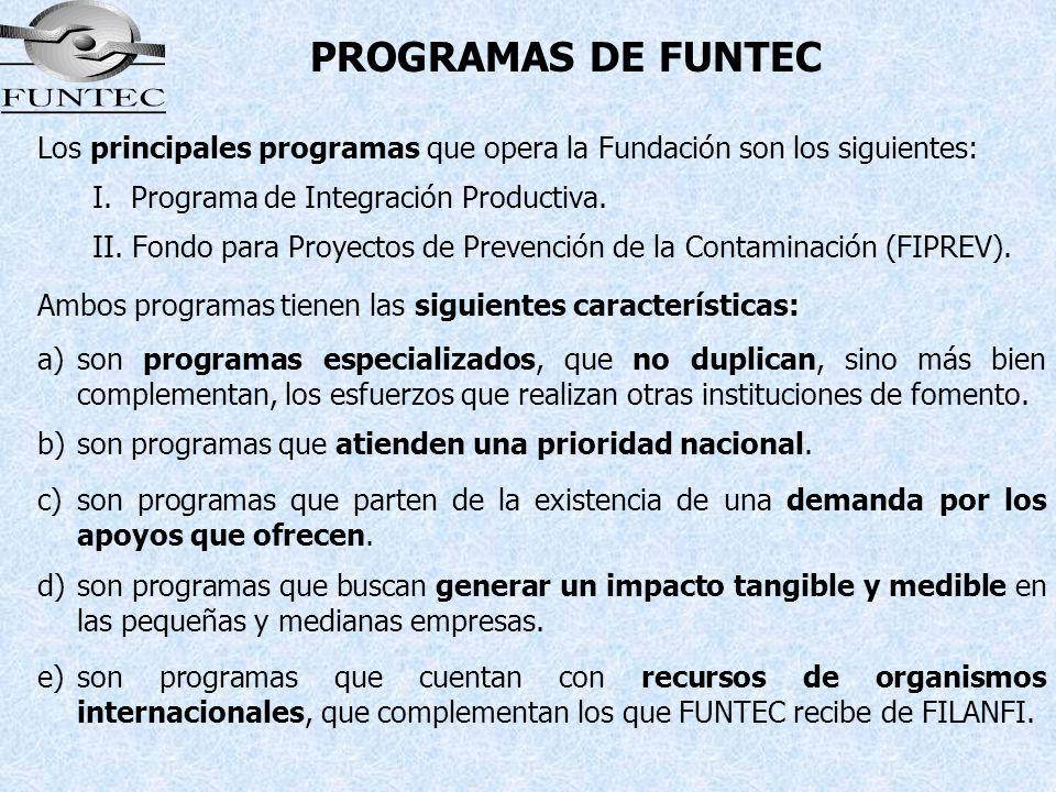 PROGRAMAS DE FUNTEC Los principales programas que opera la Fundación son los siguientes: I. Programa de Integración Productiva.