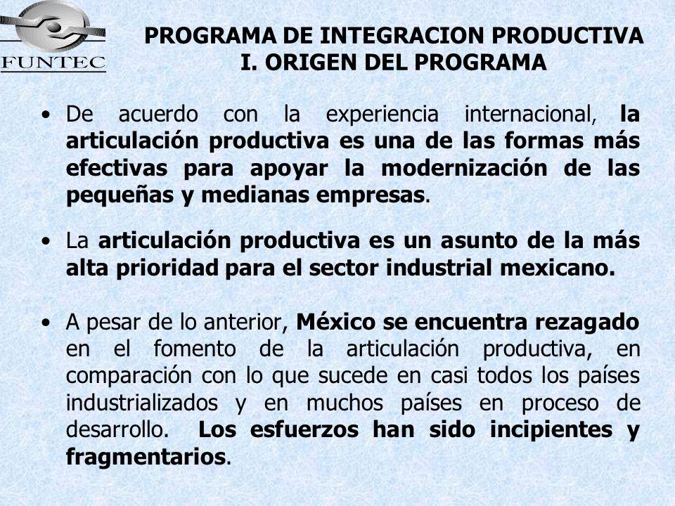 PROGRAMA DE INTEGRACION PRODUCTIVA I. ORIGEN DEL PROGRAMA