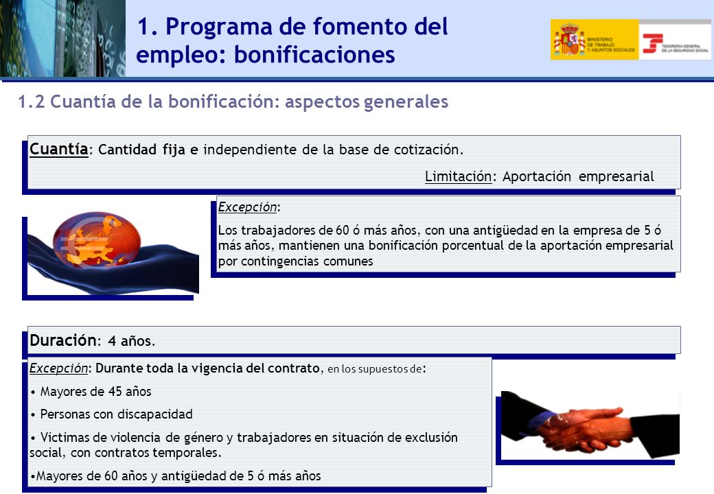 1. Programa de fomento del empleo: bonificaciones