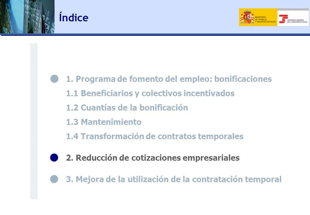 Índice 1. Programa de fomento del empleo: bonificaciones