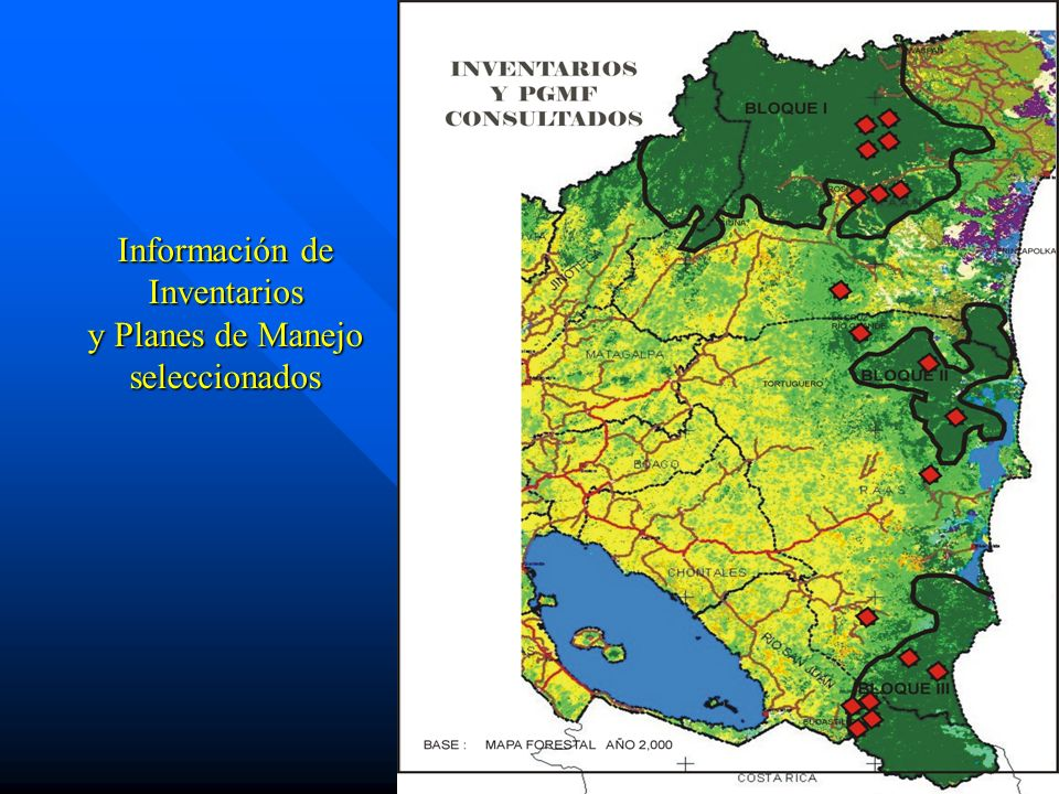 Información de Inventarios y Planes de Manejo seleccionados