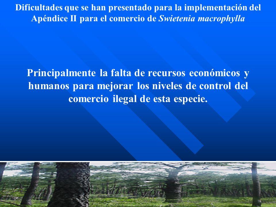 Dificultades que se han presentado para la implementación del Apéndice II para el comercio de Swietenia macrophylla