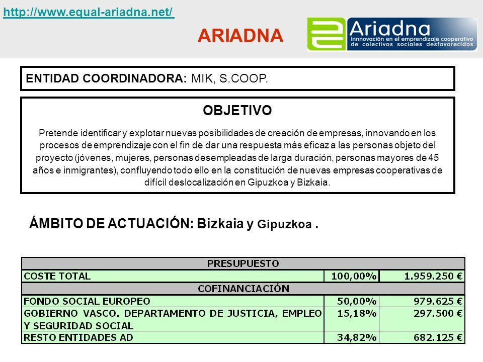ARIADNA OBJETIVO ÁMBITO DE ACTUACIÓN: Bizkaia y Gipuzkoa .