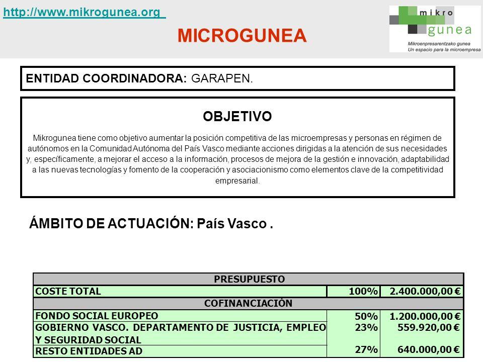 MICROGUNEA OBJETIVO ÁMBITO DE ACTUACIÓN: País Vasco .