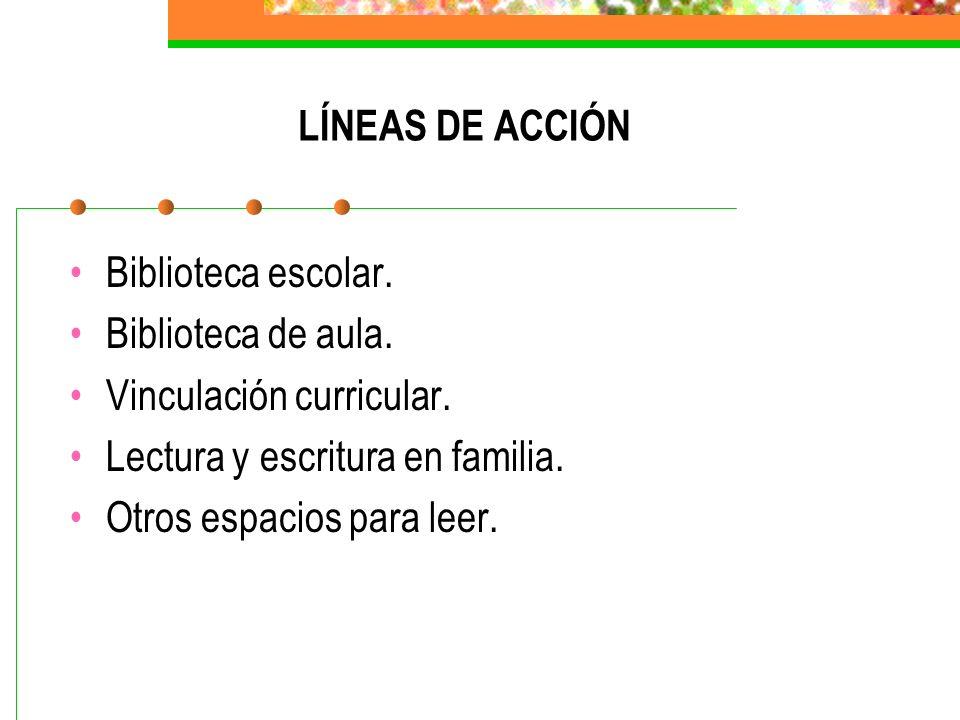 LÍNEAS DE ACCIÓN Biblioteca escolar. Biblioteca de aula. Vinculación curricular. Lectura y escritura en familia.