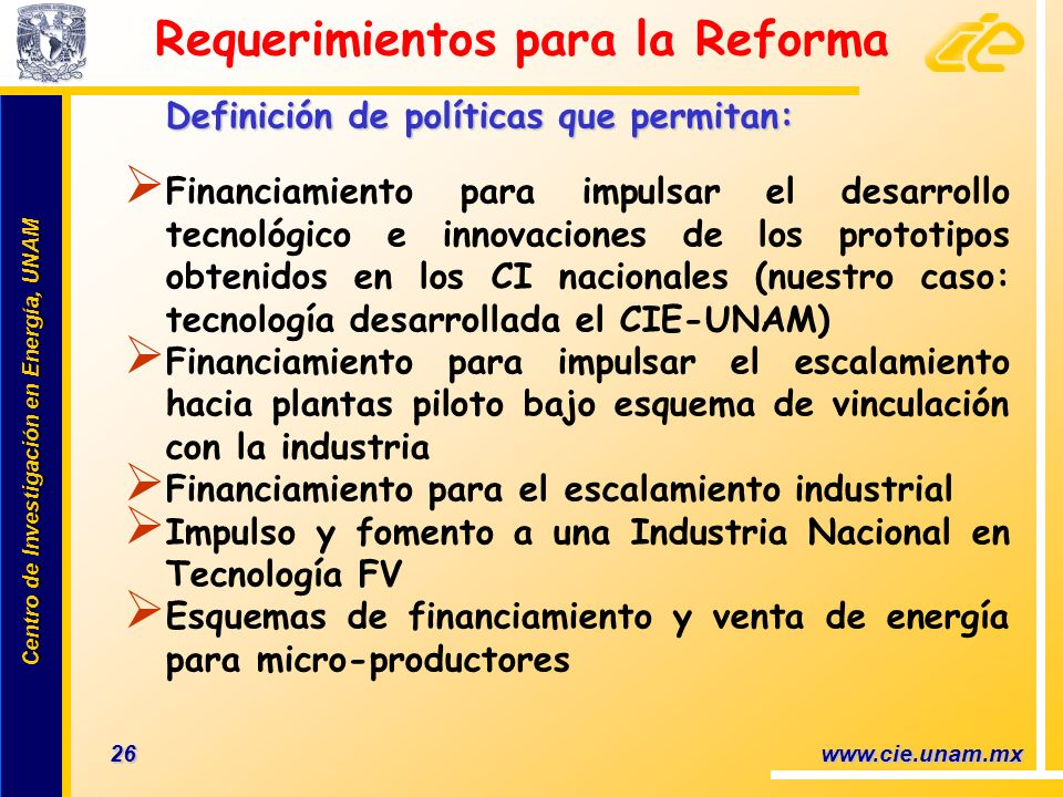 Requerimientos para la Reforma