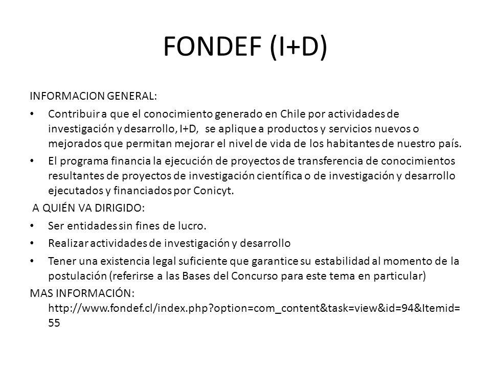 FONDEF (I+D) INFORMACION GENERAL:
