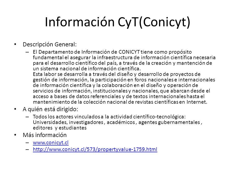 Información CyT(Conicyt)