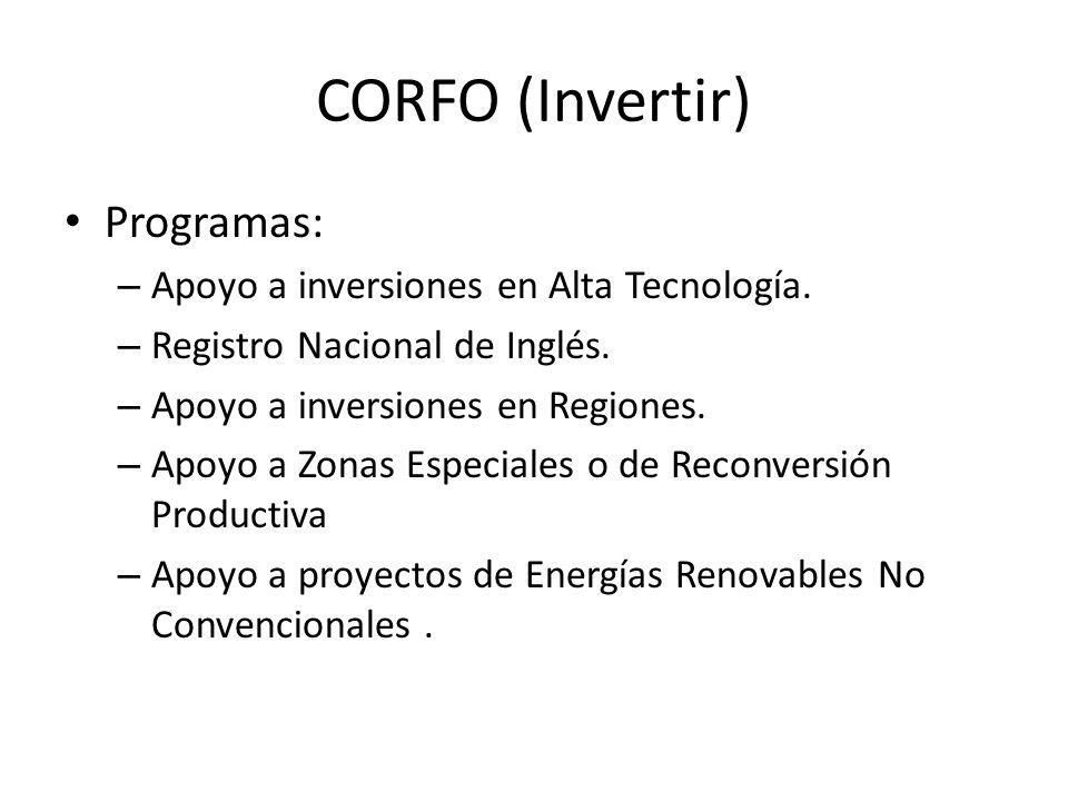CORFO (Invertir) Programas: Apoyo a inversiones en Alta Tecnología.