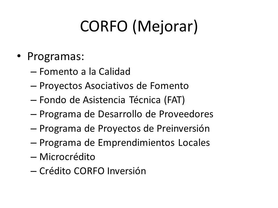 CORFO (Mejorar) Programas: Fomento a la Calidad