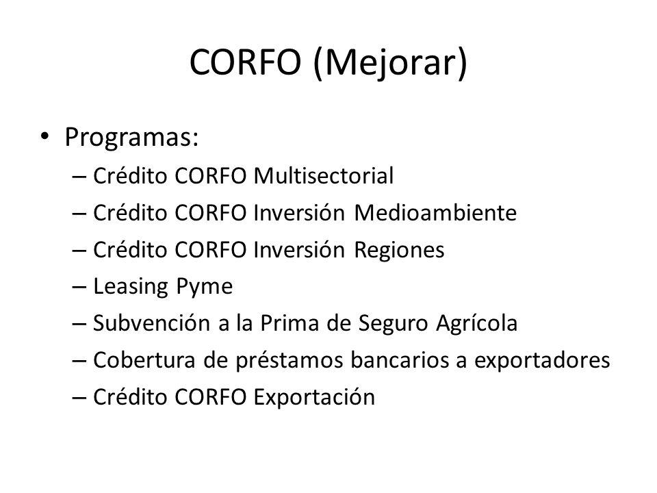 CORFO (Mejorar) Programas: Crédito CORFO Multisectorial