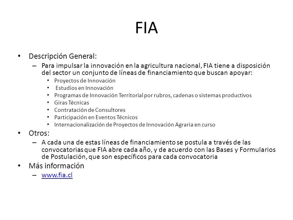 FIA Descripción General: Otros: Más información