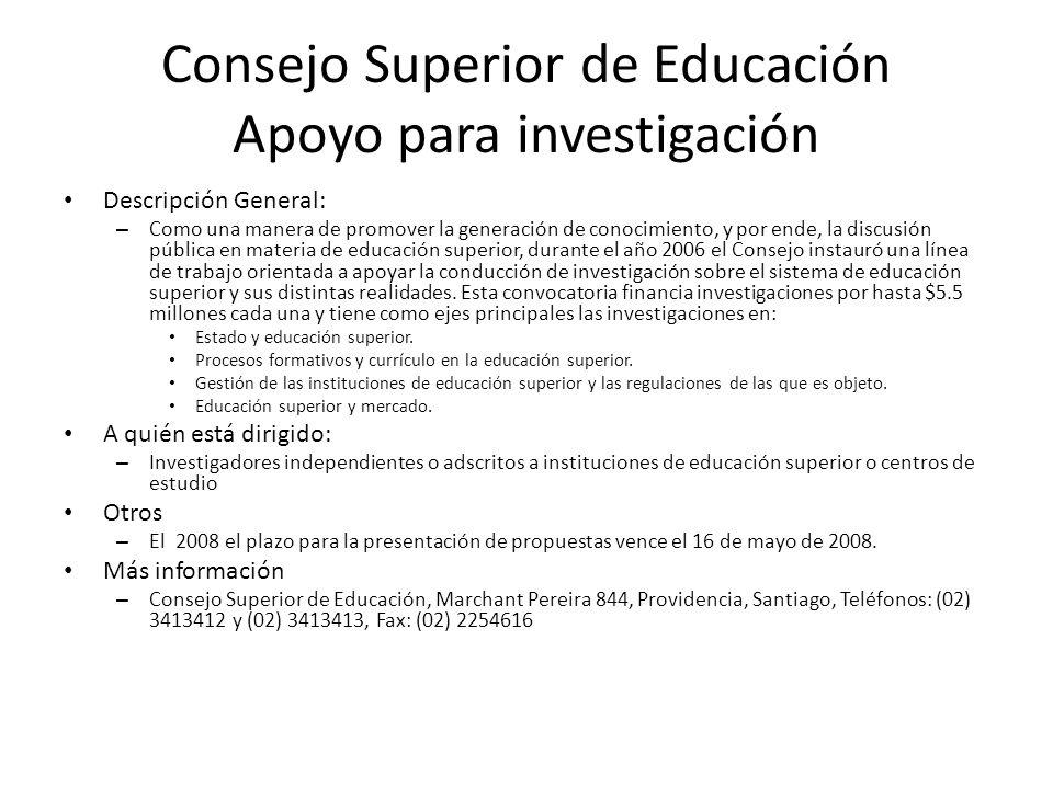 Consejo Superior de Educación Apoyo para investigación