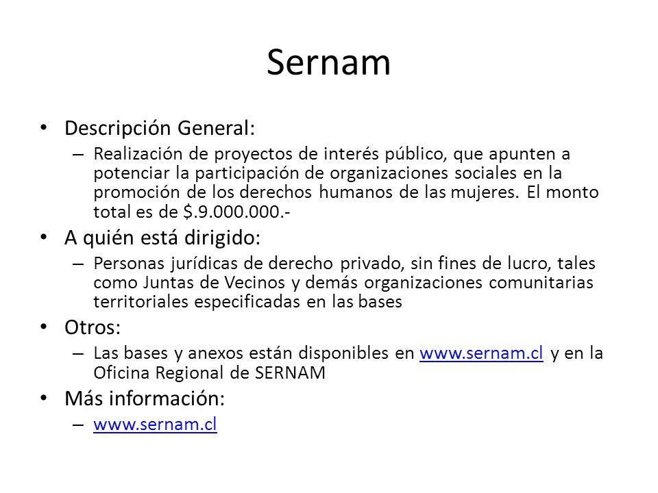 Sernam Descripción General: A quién está dirigido: Otros: