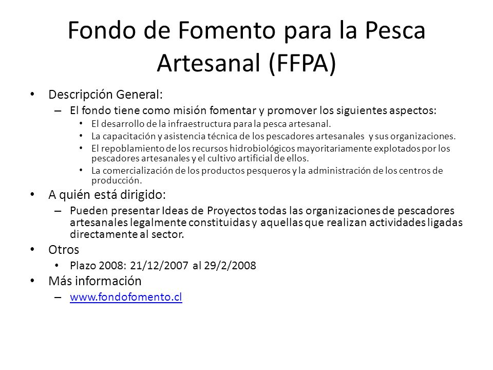 Fondo de Fomento para la Pesca Artesanal (FFPA)