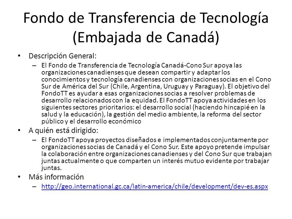 Fondo de Transferencia de Tecnología (Embajada de Canadá)
