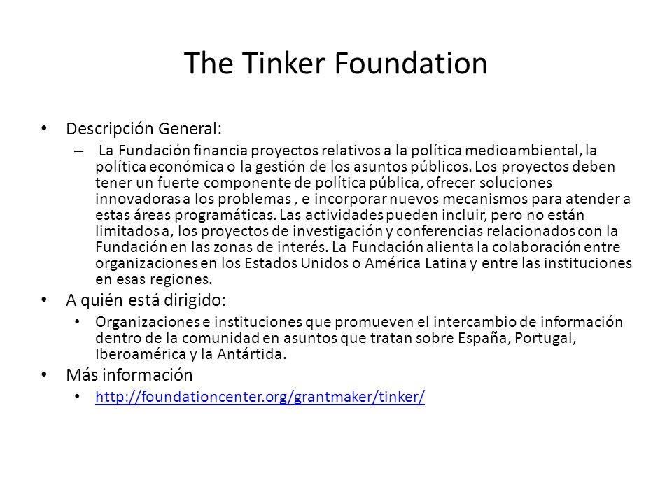 The Tinker Foundation Descripción General: A quién está dirigido: