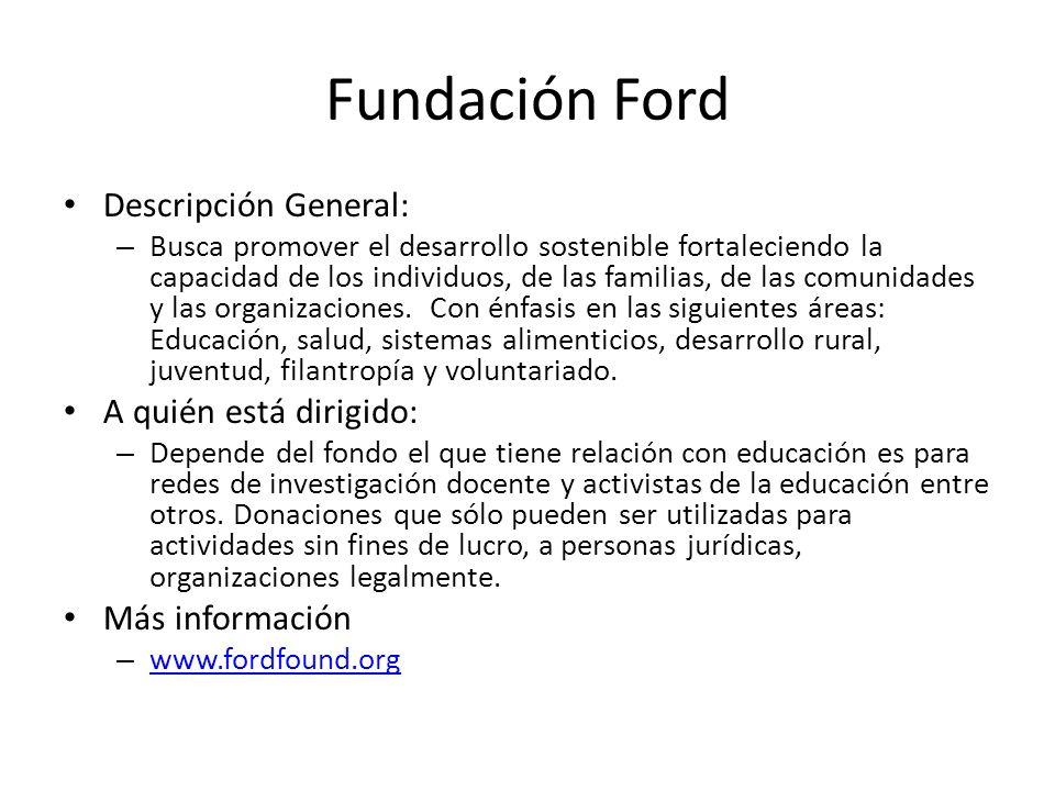 Fundación Ford Descripción General: A quién está dirigido: